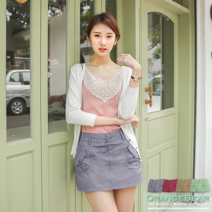 個性典範~兩側斜口袋造型安全褲內裡短裙?4色