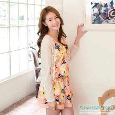 0814新品 田園漫步~蕾絲滾邊罩衫x浪漫花裙兩件式洋裝‧2色