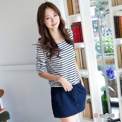 0604新品 自然調性~反折袖釦橫條紋拼接腰抽繩連身洋裝‧4色