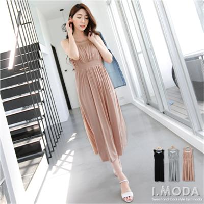 0528新品 高端雅致~網紗高腰挖背無袖鬆緊長洋裝.3色