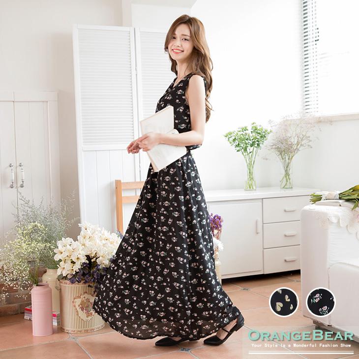 0401新品 品味綻放~V領花朵/愛ob嚴選褲心雪紡印花縮腰長版洋裝.2色