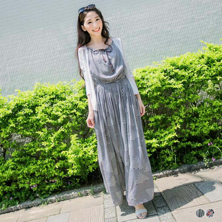 0408新品 田園時尚~條紋/絢爛印花麻花皮繩綁帶長洋裝.2色