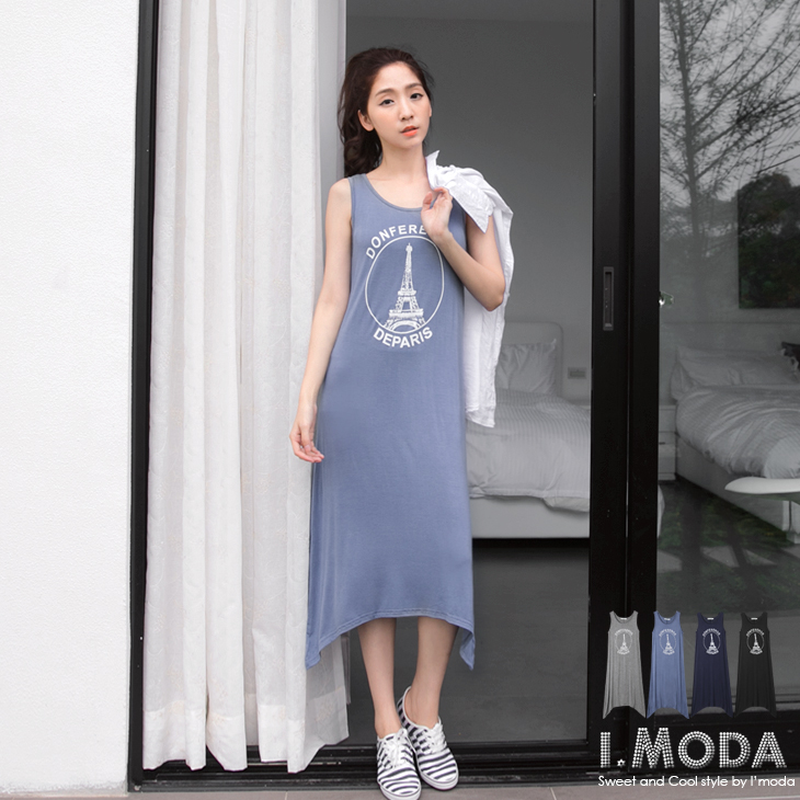 【好感洋裝?2件68折】時尚生活~巴黎鐵塔弧狀下擺背心式長洋裝.4色
