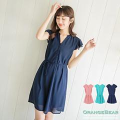 0529新品 lady高雅~素色雪紡V領開襟綁帶洋裝.3色