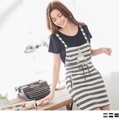 【夏日特賣♥2件5折】親子系列~條紋腰抽繩連身吊帶裙‧3色