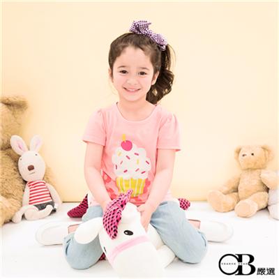 0415新品 甜蜜滋味~粉紅櫻桃杯子蛋糕T恤‧童2色
