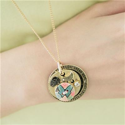 輕甜細緻~金屬雙層鈕釦水鑽點綴項鍊.2色