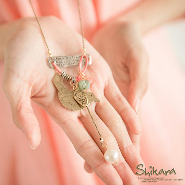 甜美搖曳~小鳥造型垂墬珍珠層次感項ob嚴選 穿搭鍊.2色