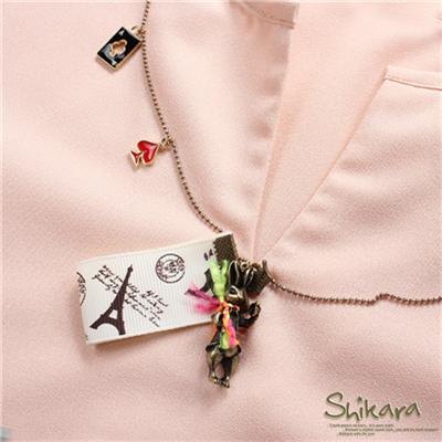 【最低出清!任選68】 文藝個性~撲克牌兔兔MIX緞帶造型項鍊.1色
