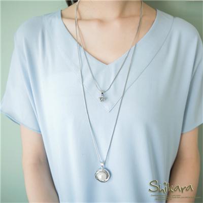 0329新品 素雅風尚~銀圈珍珠墬飾雙層項鍊
