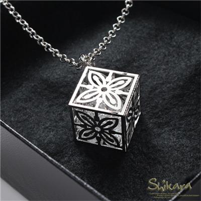 簡約閃耀~鏤空立方體水鑽墬飾項鍊
