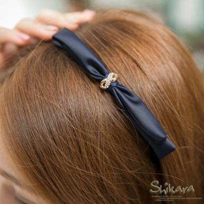 優雅閃動~水鑽緞帶蝴蝶結髮箍.2色
