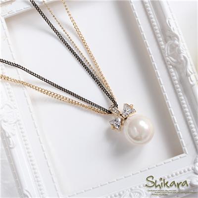 0525新品【特價款】細膩閃動~蝴蝶結水鑽單顆珍珠墬飾多圈項鍊.2色