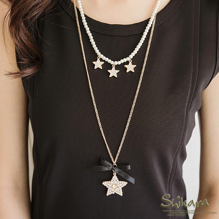 光芒動人~星星水鑽珍珠緞帶雙圈項ob嚴選洋裝鍊.2色