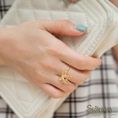甜美閃動~金屬鏤空立體蝴蝶結水鑽戒指.2色