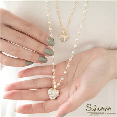 0525新品【特價款】甜美燦爛~水鑽愛心雙圈珍珠項鍊