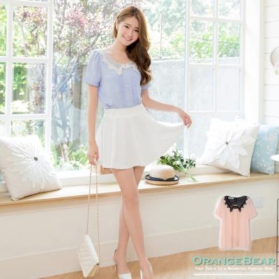 【春粉色系♥任選75折】完美層次~雪紡拼撞色雕花蕾絲珍珠點綴上衣.2色