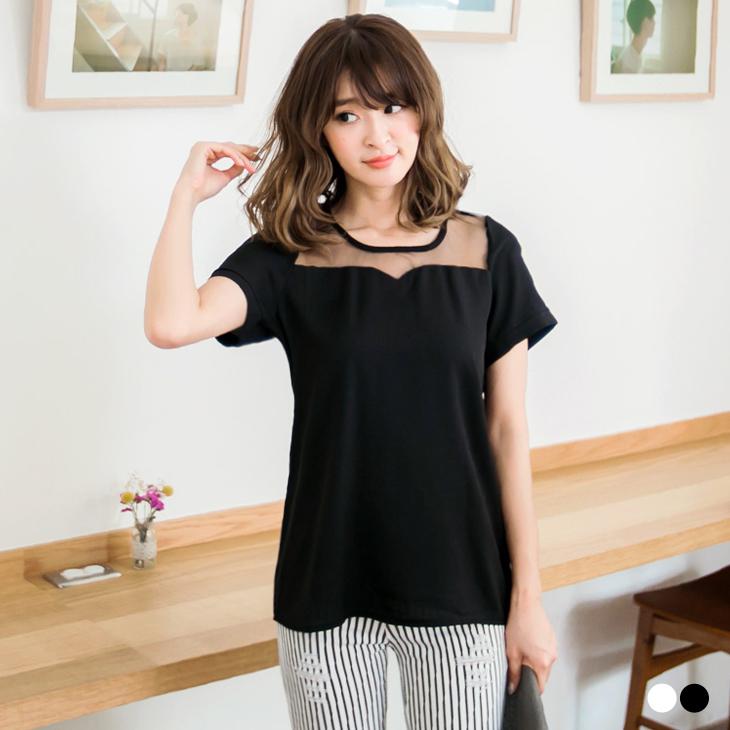 0923新品 ob嚴選洋裝氣質宣言~透膚網紗拼接純色後釦式上衣.2色