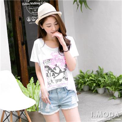 【春夏斷碼♥2件59折】活力滿載~純棉立體燙印圖前短後長T恤.2色
