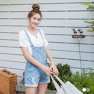 【春夏斷碼♥2件59折】率性女孩~素色小V領蕾絲連袖上衣.2色
