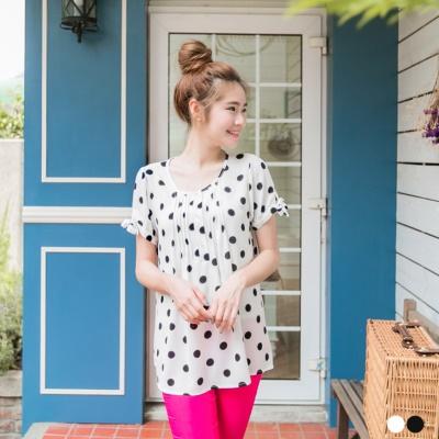0605新品 復古甜氣~黑白點點開襟蝴蝶結袖口上衣.2色