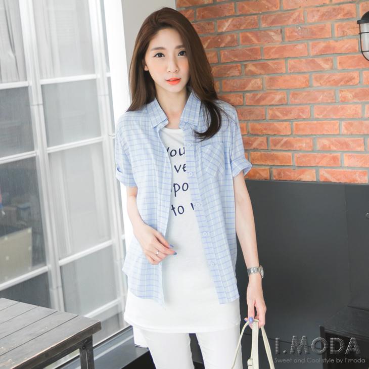 甜彩層次~輕甜色系小格紋五分袖襯衫ob服裝.3色