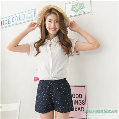 0806新品 清純細膩~白色鏤空雕花布蕾絲刺繡襯衫