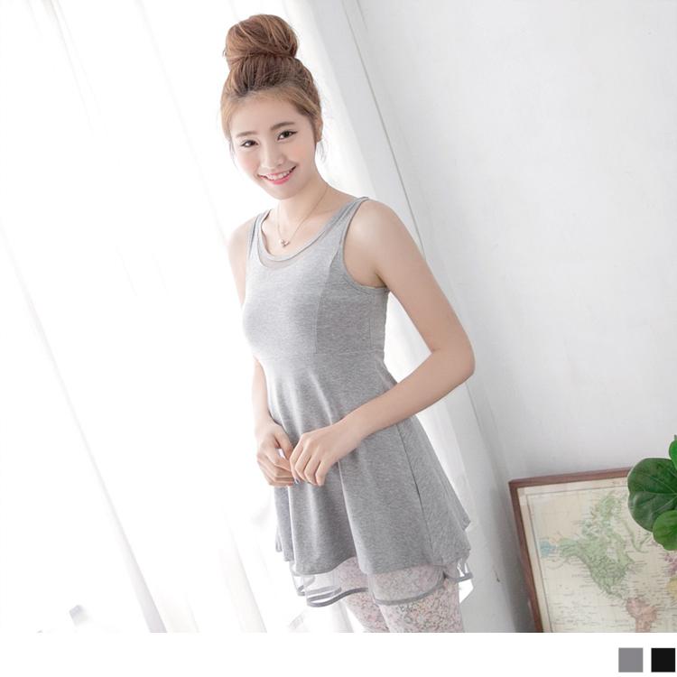 0411新品 輕盈唯美~素色高腰網紗層次無袖長版上衣.2色