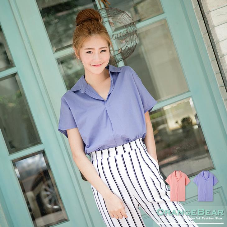 高雅簡約~V領素色質感面料後綁帶連袖上衣ob刷毛褲.2色