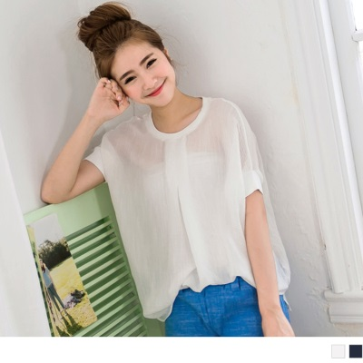 0408新品 舒適簡單~羅紋滾邊打褶質感面料連袖前長後短上衣.2色
