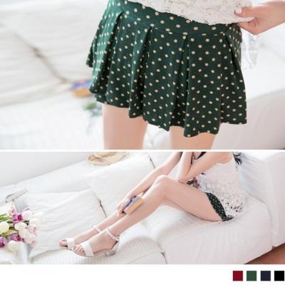 0407新品 活潑俏麗~滿版圓點傘擺打摺造型褲裙‧4色
