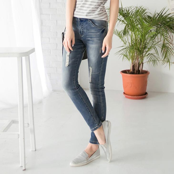 0509新ob褲品 顯瘦率性~破損感刷色立體版型美型牛仔褲