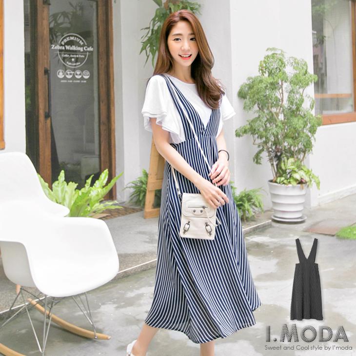 清新俐落~大V領交叉直條紋雪紡長洋裝.2色