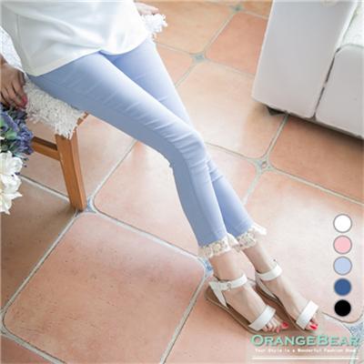 0601新品 甜美滿點~斜紋彈性面料蕾絲下襬長褲.5色