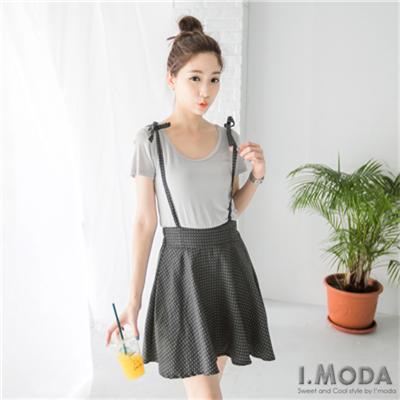 0526新品 俏麗美型~滿版圓點高腰吊帶褲裙.2色