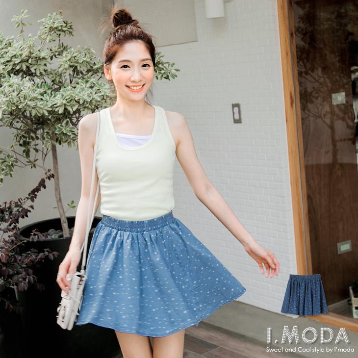 【春夏斷碼?2件59折】青春美型~滿版星星燙印彈性腰圍牛仔短裙.2色