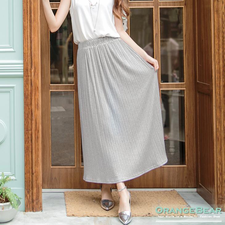0728新品 高雅簡約~素色質感鬆緊百褶長裙.3色