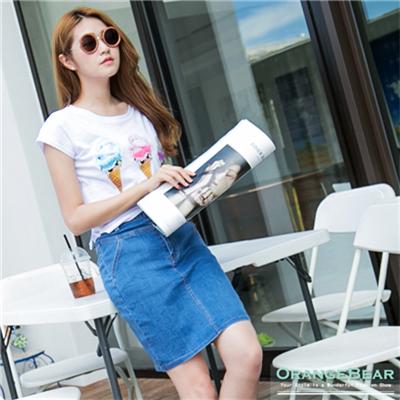 0617新品 清新美型~雙排釦顯瘦版型牛仔窄裙.2色