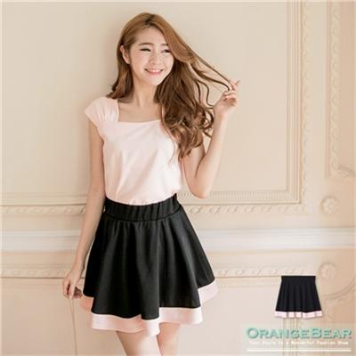 0618新品 優雅品味~質感彈性撞色圓短裙.2色