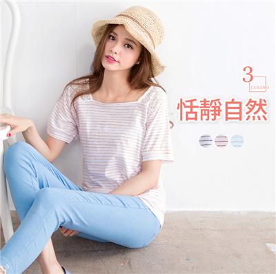 【百搭T恤♥任選59折】恬靜自然~竹節棉蕾絲拼接鏤空細條上衣‧3色