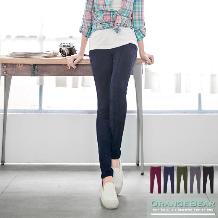 0407新品 百搭好穿~素色質感面料彈性長褲.5色