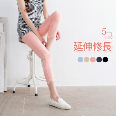 【顯瘦下著♥任選65折】延伸修長~蕾絲設計雪花八分褲‧5色