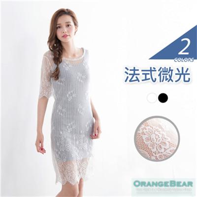 法式微光~纖柔蕾絲裸膚兩件式洋裝‧2色