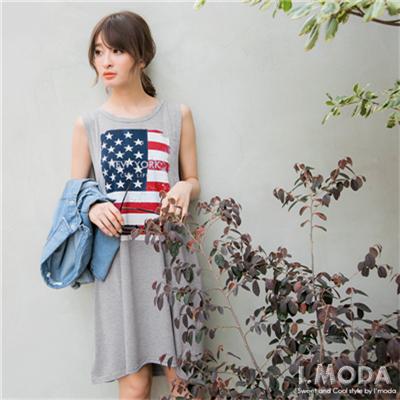 0703新品 享受生活~美國國旗燙印圖寬鬆背心洋裝.2色