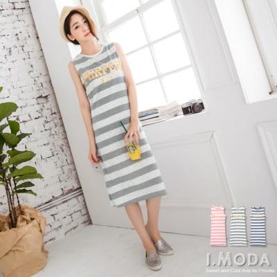 【夏日特賣♥2件5折】好感印象~金屬光感燙印拼接條紋無袖連身洋裝.3色