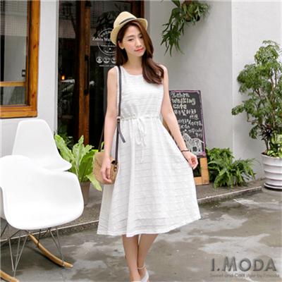 0630新品 唯美氣息~純色滿版布蕾絲無袖連身洋裝.2色