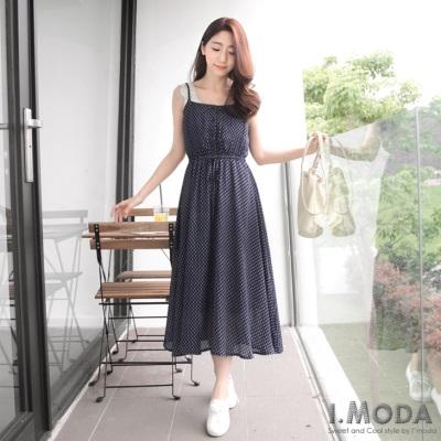 0511新品 高挑美感~開襟雪紡滿版印花細肩帶長洋裝.3色