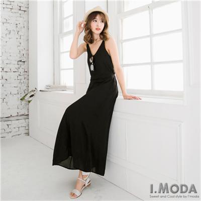 0525新品 高端美感~雪紡紗露背造型細肩長洋裝.2色