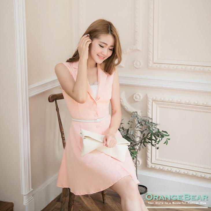 0420新品 知性品味~質感彈性面料高腰開襟無袖長版上衣.2色