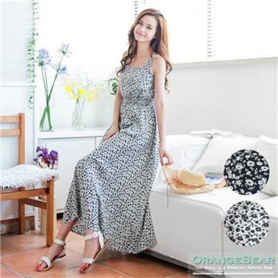 0602新品 清新瀰漫~滿版碎花圖案縮腰無袖長版連身洋裝.2色